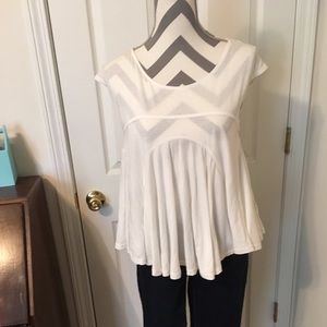 Free People Cream soft top NWOTs open back w lace